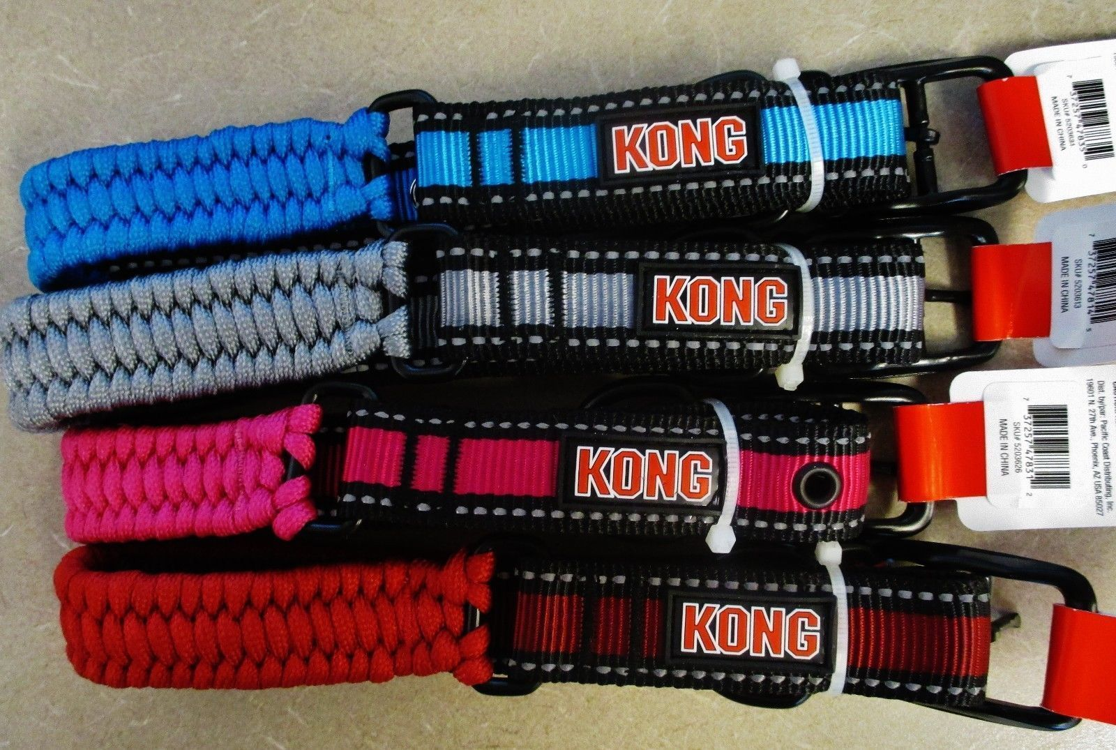 "Kong 1"" Heavy Duty Nylon 22""Paracord Braided  Dog Collar Red - Medium Dog NEW"