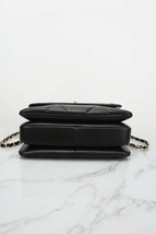 AUTH NEW CHANEL BLACK DIAMOND QUILTED LAMBSKIN TRENDY CC HANDLE FLAP BAG  image 5