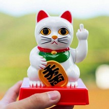 Lucky Cat Figurine Swing Middle Finger Ornaments Home Decoration Crafts Gifts - $55.43