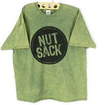 Nut Sack Tshirt Mens Short Sleeve 2XL Green Marble Pattern Sack Up Two S... - $12.83