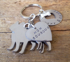 Two French Bulldogs Custom Keychain Dog Lover Frenchies Boubous - $27.00