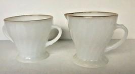 Sugar Creamer Set Milk Glass ANCHOR HOCKING USA Vintage White Swirl Gold... - $15.84