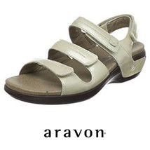 New Balance Aravon Keri Sandals Slingback Womens 11 Leather Cream Orthotic - $43.55