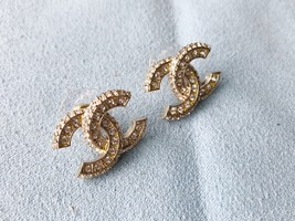 SALE* AUTHENTIC CHANEL XL LARGE CRYSTAL CC LOGO STUD GOLD EARRINGS  image 5