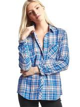 GAP Women's Double-layer Plaid Shirt, Blue-Plaid, Cotton Blend, Size L NWT - $44.99