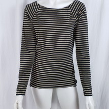 Ralph Lauren Top Women Medium Pullover Stretch Metallic Stripe Black Gold - $18.75