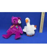 2 TY Beanie Babies Plush Original Stuffed Animals 1996 Gracie 1999 Mille... - $12.22