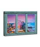 iKNOW FOTO Canvas Prints Retro Teal Window Frame Style Ferris Wheel Land... - $68.12