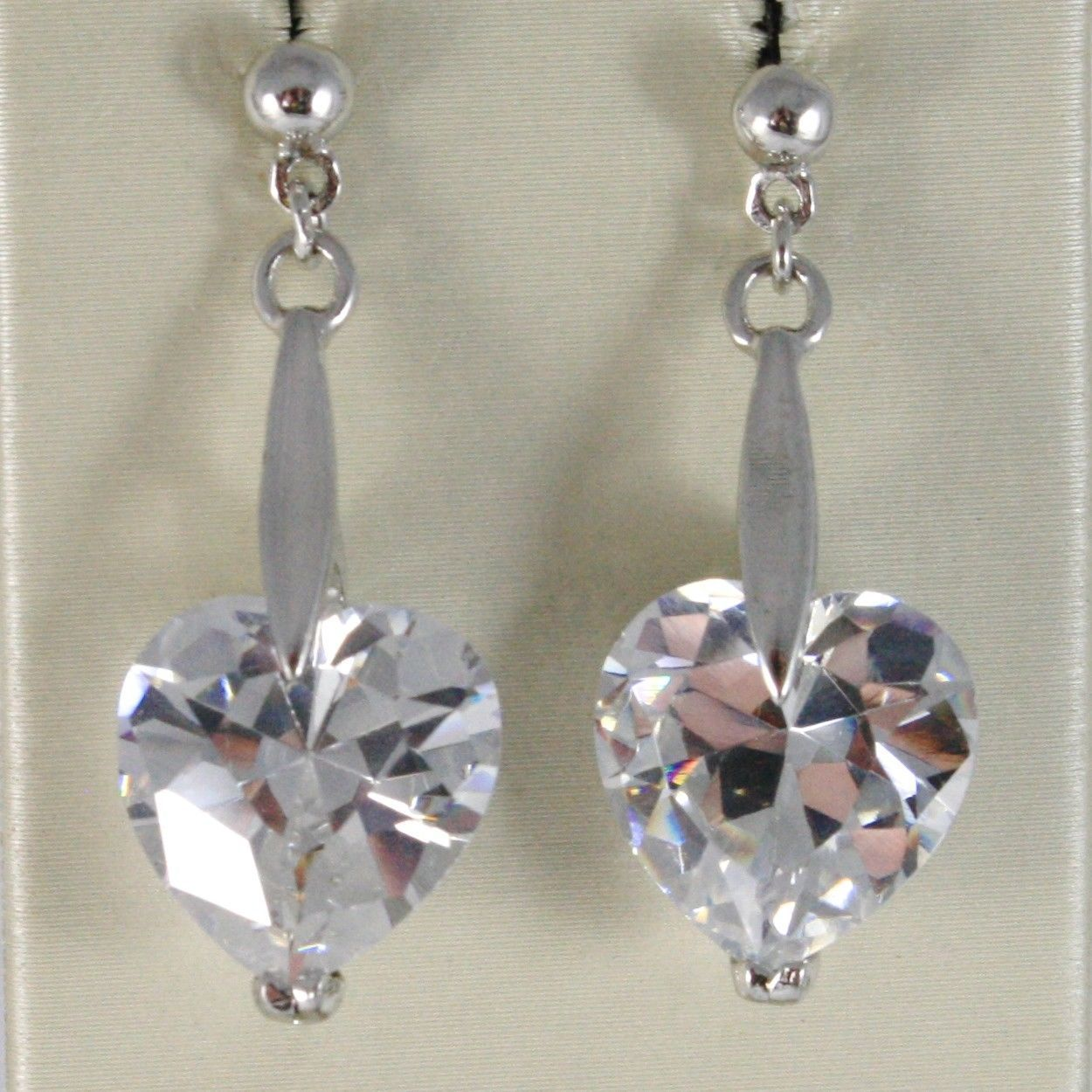 EARRINGS SILVER 925 TRIED AND TESTED WITH BAR LINE RIGID WITH ZIRCON CUBIC HEART