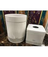 Bella Lux Bathroom Accessory Ceramic Crystal White Trash Bin Tissue Box ... - $159.99