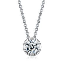1.55 Carat Bezel Set Cubic Zirconia Pendant necklace for Women 16+2 In - $45.12