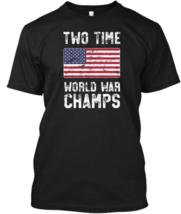 "2 Time World War Champs T-Shirt Patrioti 100%cotton US Men""s Clothing Tr... - $17.00"
