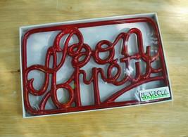 "INVICTA Heavy Cast Iron Enamel Trivet BON APPETIT - Red - 7X11"" - NEW Cond. - $13.90"