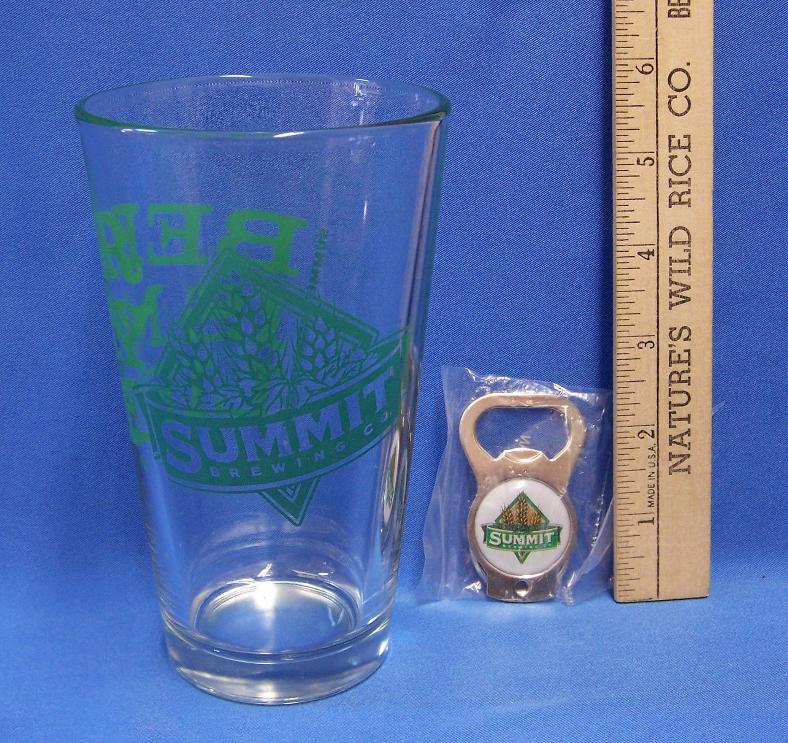Summit Brewing Co Clear Glass & Key Chain Metal Bottle Opener Beer Is My life