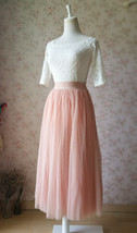 Blush Pink Long Tulle Skirt High Waisted Plus Size Long Tulle Tutu Blush Skirt image 6