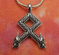 "Othala Rune Necklace, Elder Futhark Viking Runic Pick 28"" - £34.14 GBP"