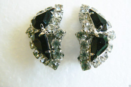 VINTAGE SILVER TONE METAL CRYSTAL BLACK RHINESTONE FANCY DESIGN CLIP EAR... - $19.80