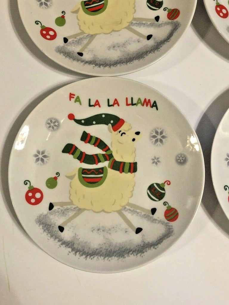 """Llama's Llama Christmas Ceramic Tidbit Appetizer Plates 6"""" Set of 4"""