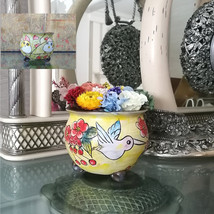 Hand Painted Ceramic Plant Pot with Preserved Flower Arrangement Eternit... - $32.95+