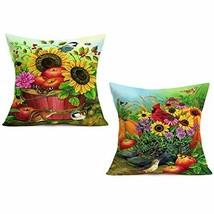 Doitely 2 Pcs Autumn Harvest Pillow Cases Cotton Linen Rustic Country Pu... - $21.55