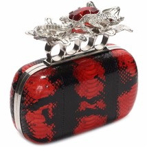 New ALEXANDER MCQUEEN Red and Black Python Glory Salamander bag clutch - $2,995.00