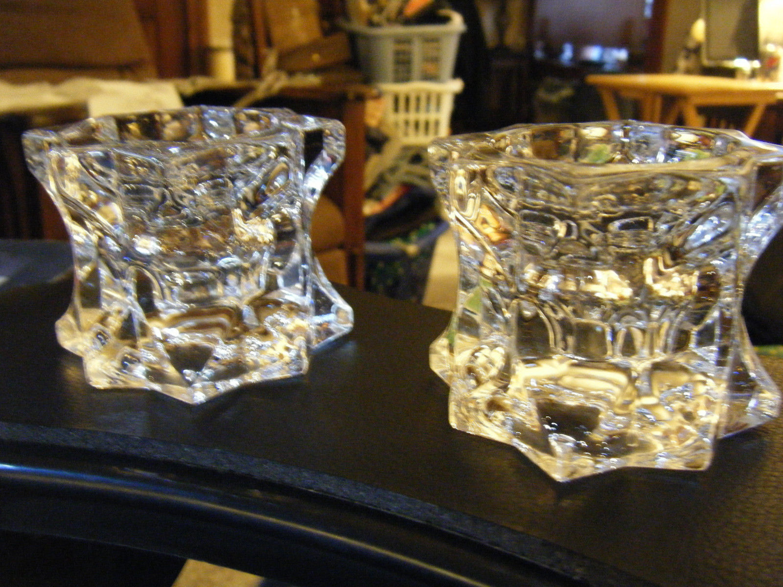 Pair of Mikasa Clear Glass Sparkling Star Shaped Taper & Tealight Candle Holders