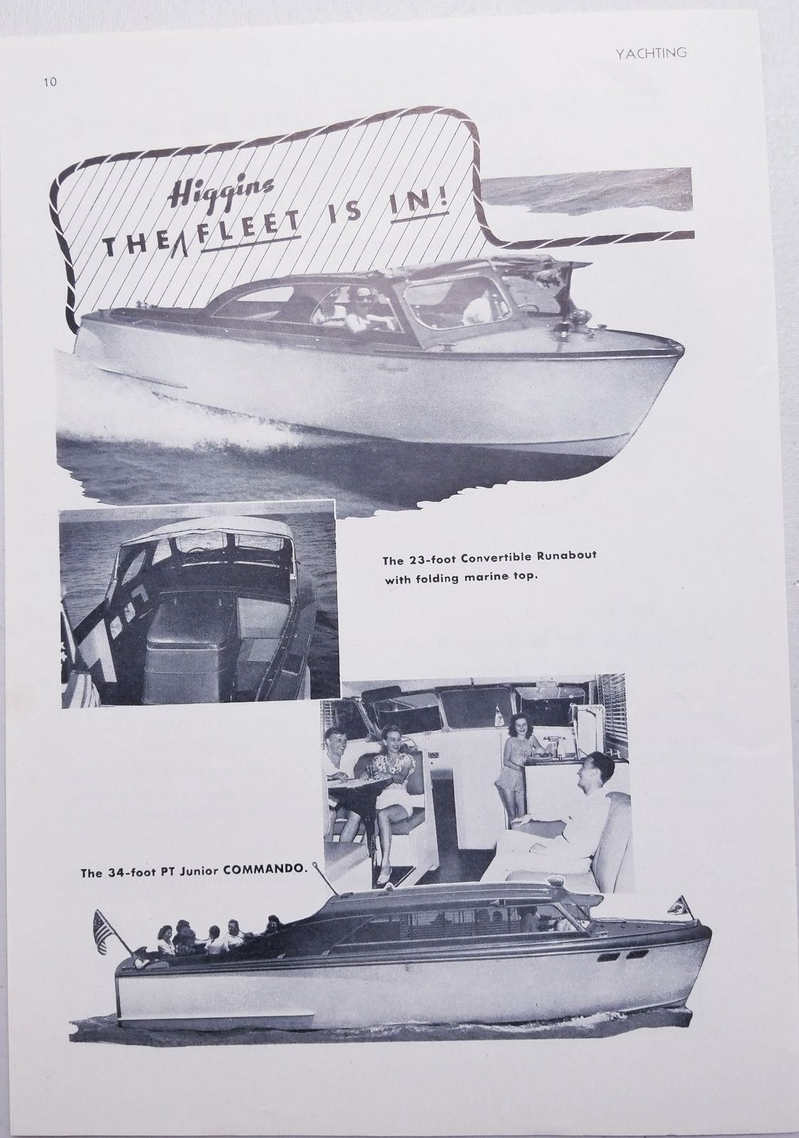 Primary image for 1947 Print Ad Higgins Boats 23' Convertible Runabout & 34' PT Junior Commando
