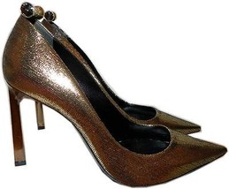 $980 Lanvin Classic Gold Metallic Stiletto Pump Crystal Studded Heel Sho... - $388.00