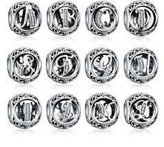 925 Sterling Silver Letters Charm suits Pandora Free Bracelet with 5 Cha... - $8.99