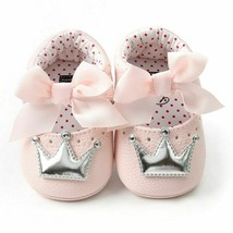 Baby Moccasins Girl PU Leather Shoes First Walkers Crown Bow Soft Soled Non-Slip