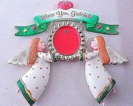 Sweet 2005 Carlton Cards Heirloom Ornament Bless You Godchild Angels Pho... - $3.97