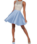 Knee Length Short Cocktail Dresses Sky Blue Girls Pageant Party Gowns Fo... - $74.00