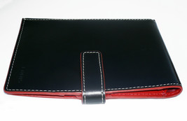 Lodis Black and Red Smooth Leather Slim Wallet Passport Case Travel - $20.00