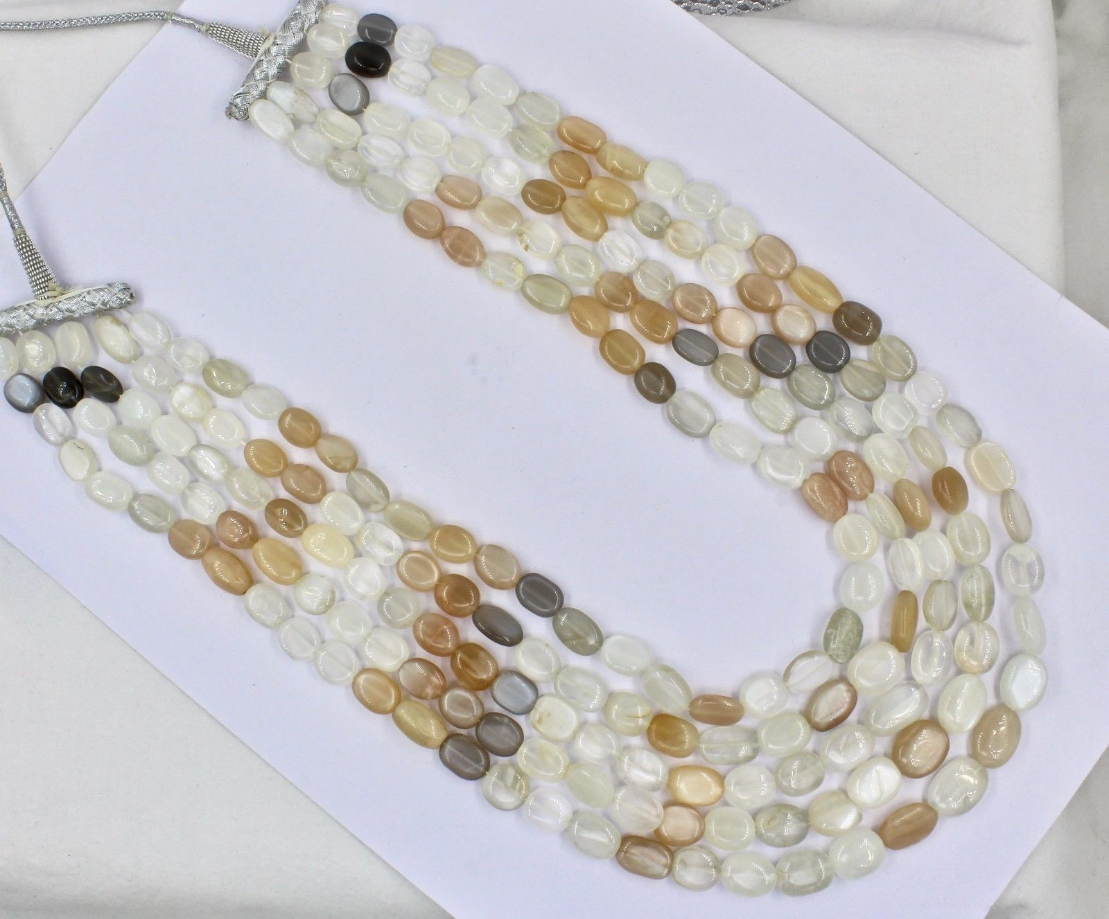 NATURAL MULTI MOONSTONE BEADS CABOCHON 5 LINE 950 CTS GEMSTONE LADIES NECKLACE image 6