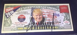 PRESIDENT DONALD TRUMP - AUTOGRAPHED ONE MILLION TRUMP DOLLARS NOTE - CO... - $79.15