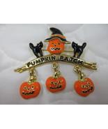 Halloween Brooch Pin Enamel Orange Black Pumpkin Scarecrow Black Cats Da... - $6.00