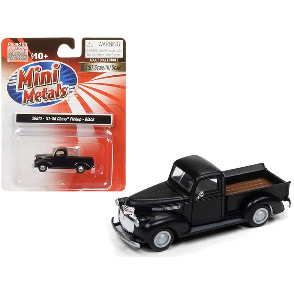 1941-1946 Chevrolet Pickup Truck Black 1/87 (HO) Scale Model Car by Classic Meta