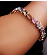 Vintage Monet Bracelet - size 7 1/2 multi color rhinestones - couture je... - $95.00