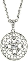 Necklace Vintage 1928 Silver-Tone Filigree and Crystal Pendant Necklace - $17.06