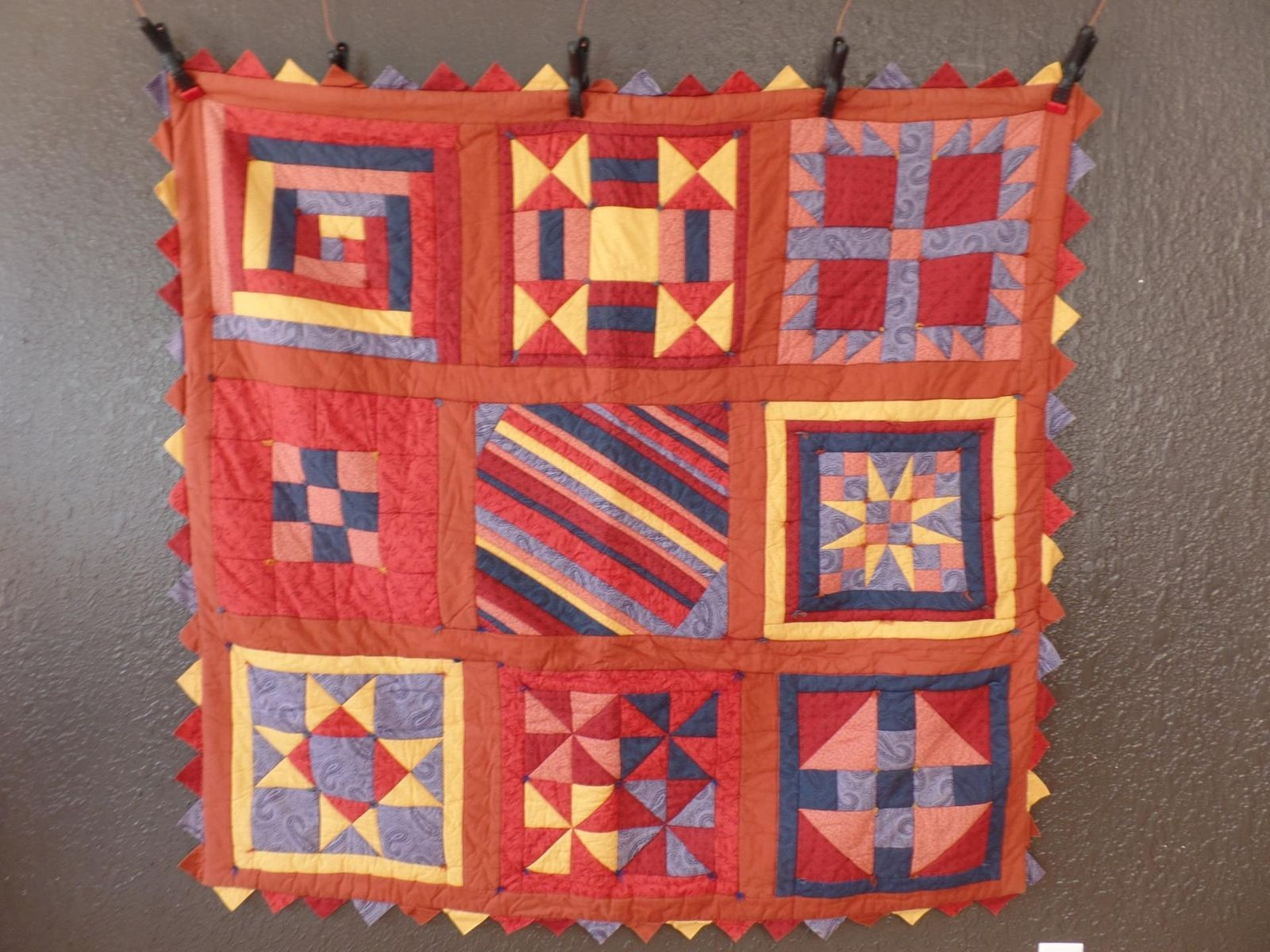 Homemade Quilt Star Tex Tapestry 56x53 Squares Striped Blanket Table Topper
