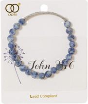 Artisan Owl Blue Swirl Beaded John 3:16 Stretch Bracelet (Silver Tone) - $41.64
