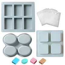 Pack of 3 Soap Making Molds and 50pcs Wrap Bag, 14 Cavity Soap Making Su... - $19.36