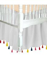 White Cotton Tassel Ruffled Crib Skirt / Mini Crib Skirt - $44.99+