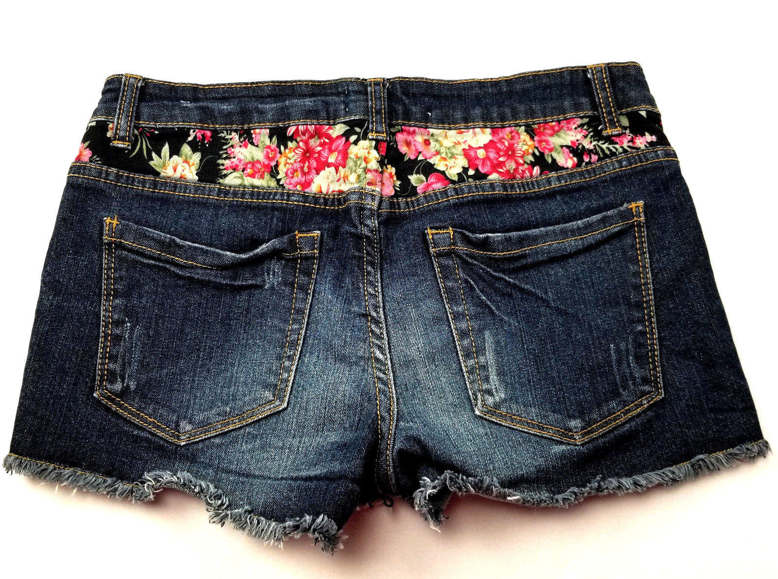 2.1 Denim Womens Jean Short Shorts Size 27 Flower Detail Distressed image 2