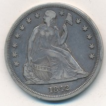 1842 SEATED LIBERTY SILVER DOLLAR-VERY NICE CIRCULATED SEATED DOLLAR-SHI... - $474.95