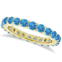 1CT Blue Topaz Eternity Ring 14K Yellow Gold - $594.96+