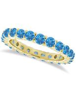 1CT Blue Topaz Eternity Ring 14K Yellow Gold - $594.96+