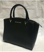 Michael Kors Women's Ellis Large Satchel Smooth Leather Shoulder Bag (Bl... - $159.64