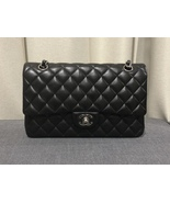 100% Authentic Chanel BLACK QUILTED LAMBSKIN MEDIUM CLASSIC DOUBLE FLAP ... - $4,199.99