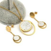 316L Stainless Steel Jewelry Set Wedding Accessories Gold color Earrings... - $19.99
